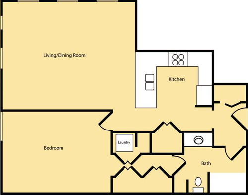 1 Bedroom (Approx 835 sq ft)