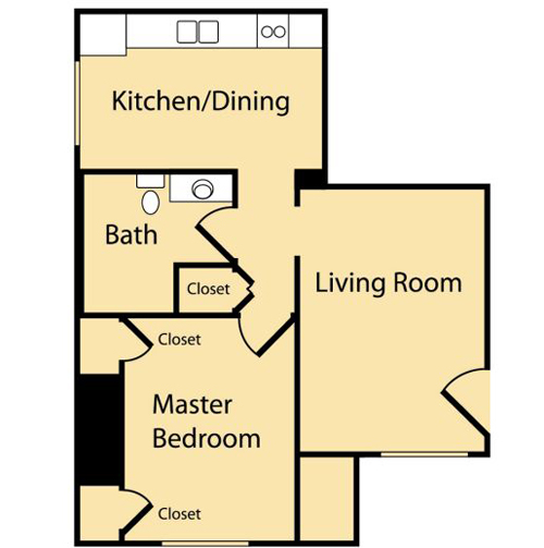 1 Bedroom A (Approx 537 sq ft)