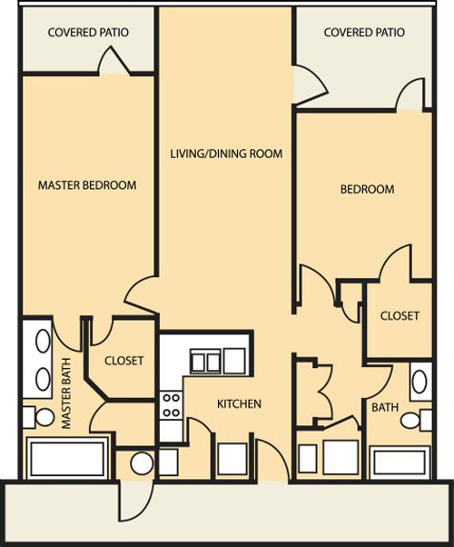 2 Bedroom (Approx 1217 sq ft)