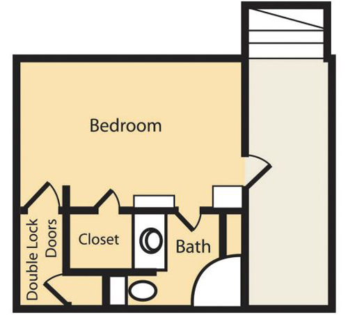 1 Bedroom (Approx 300 sq ft)